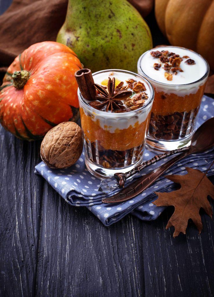 Dessert with pumpkin and granola.