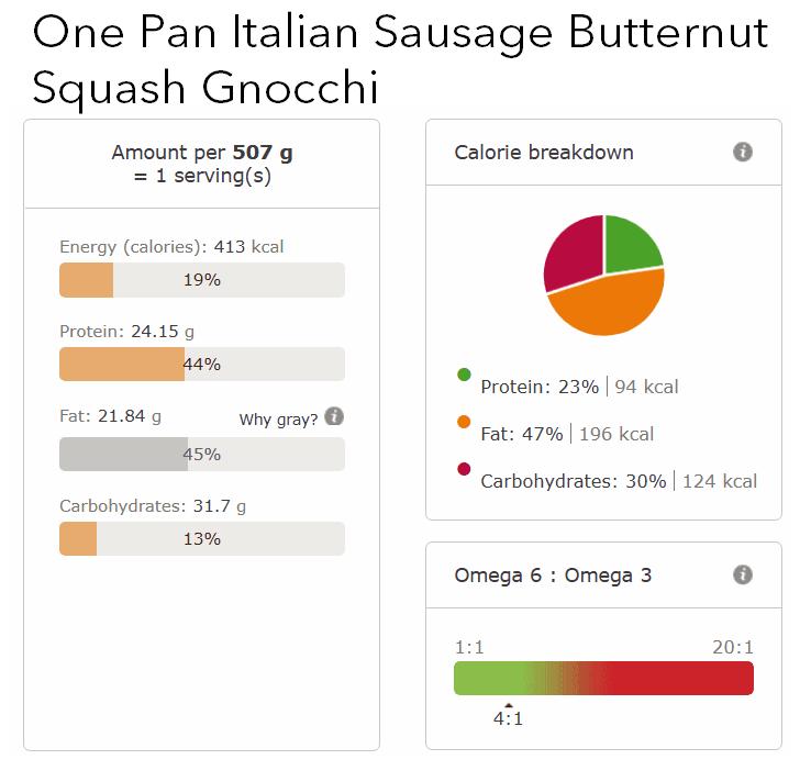 one pan italian sausage butternut squash gnocchi nutritional info
