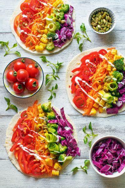 Rainbow vegetarian pizza idea
