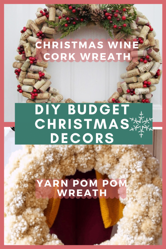 Christmas Wine Cork Wreath and Yarm Pom Pom Wreah
