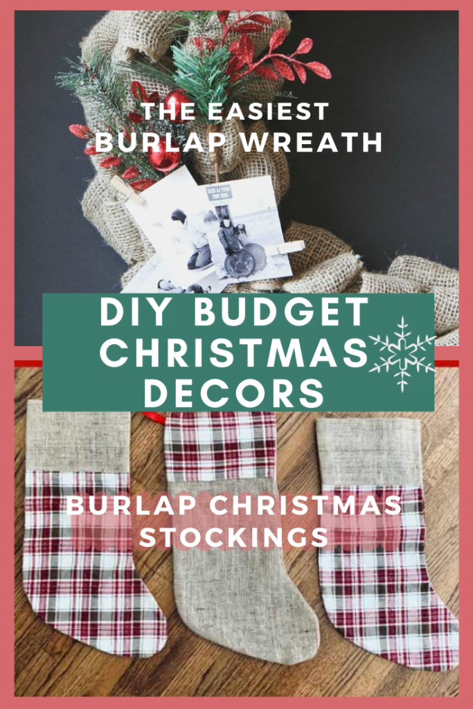 burlap wreath and burlap stockings 1