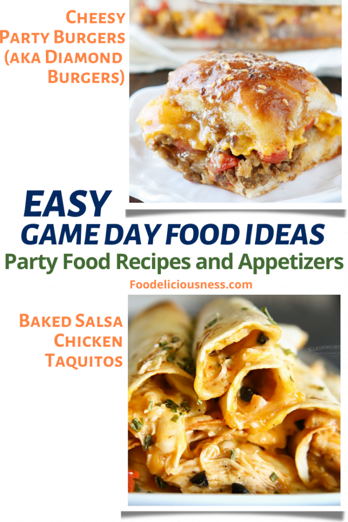 Cheesy Party Burger and Baked Salsa Chicken Taquitos