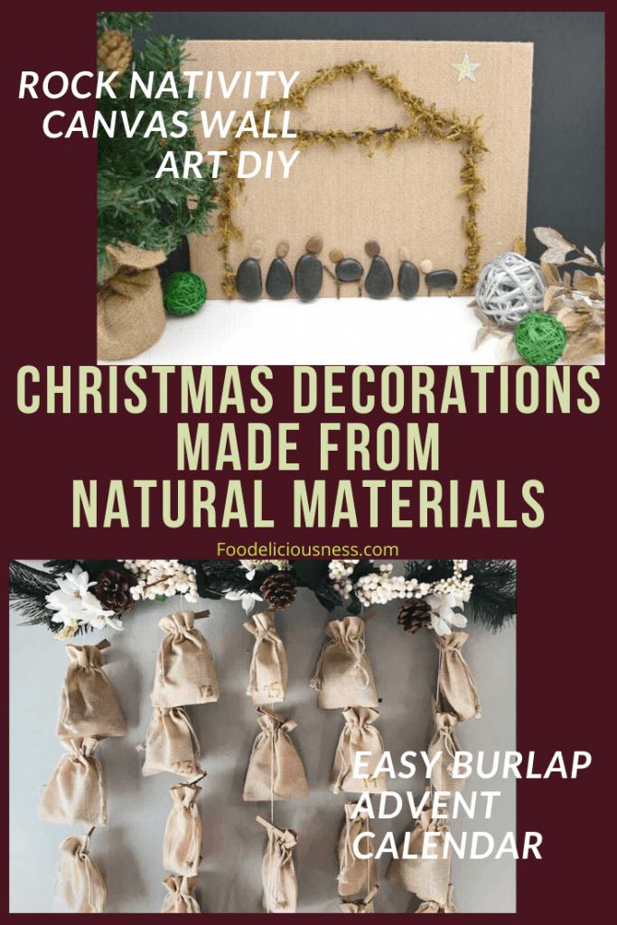 Rock Nativity Canvas Wall Art DIY and Easy Burlap Advent Calendar