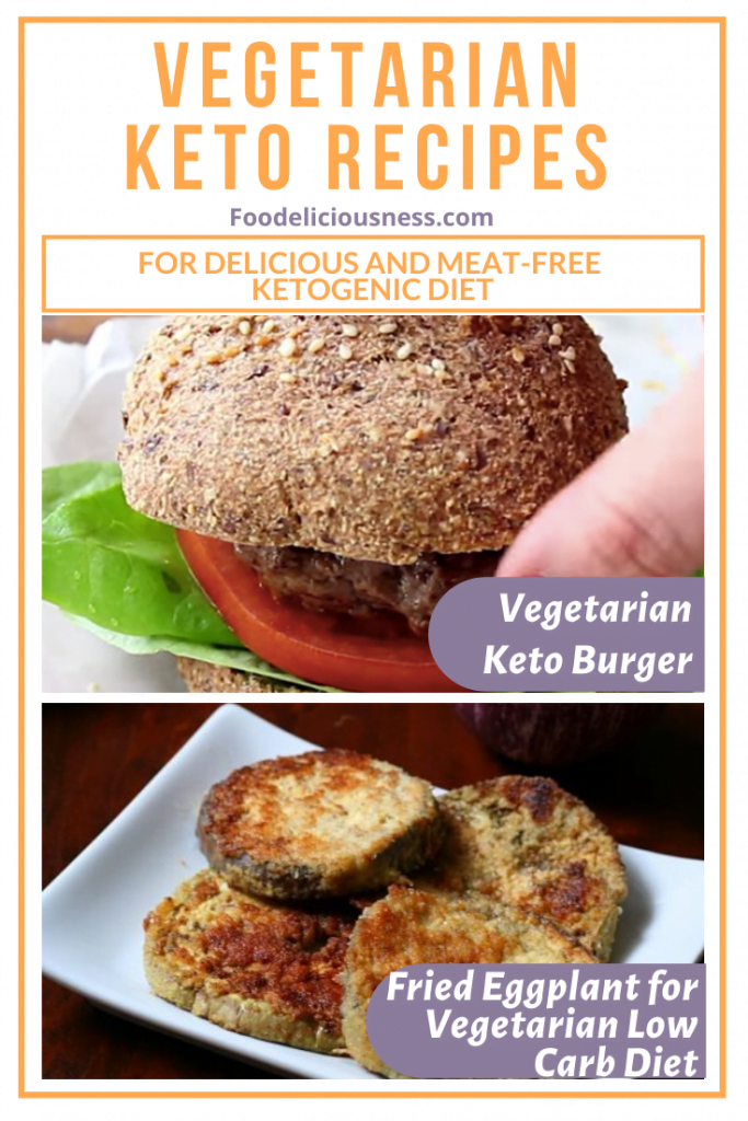Vegetarian Keto Burger and Fried Eggplant for Vegetarian Low Carb Diet