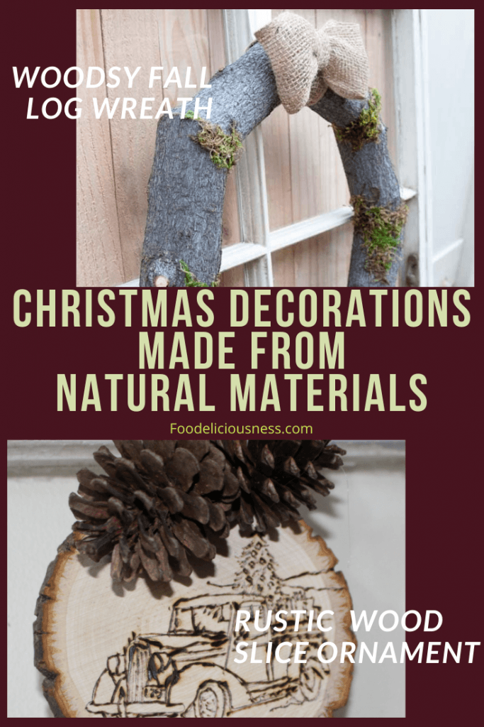 Woodsy Fall Log Wreath and Rustic Wood Slice Ornament