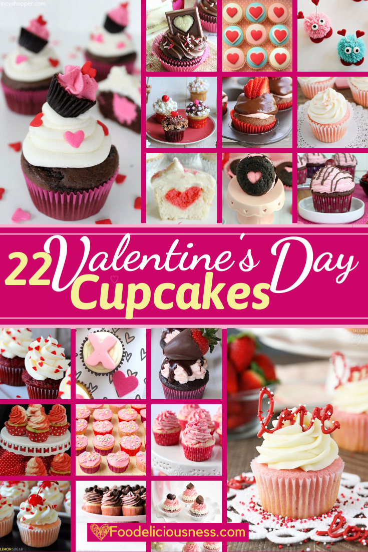 Valentine\'s Day Cupcakes are delicious treats for celebrating this day. Thus, we have collected 22 great recipes for you to choose from.These are also very easy to prepare, although some may have looked too many ingredients but you\'ll be surprised how easy they are to make. Many of these recipes can be made by and enjoyed by kids of all ages. #Valentine\'sday #Valentine\'sdaycupcakes #Valentinesdaycupcakerecipes @Foodeliciousness