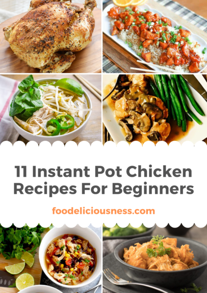 Instant pot recipes are always a good idea to prepare a simple and easy meal. In this list of chicken recipes, you will also find low carb ones. Don\'t hesitate to try these 11 instant pot chicken recipes! #instantpotchickenrecipeslowcarb #instantpotchickenrecipessimple #instantpotchickenrecipeseasymeals @foodeliciousness