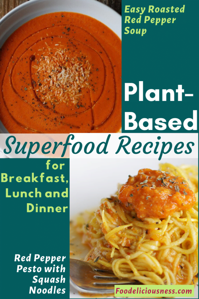 Plant-based Easy Roasted Red Pepper Soup and Red Pepper Pesto with Squash Noodles