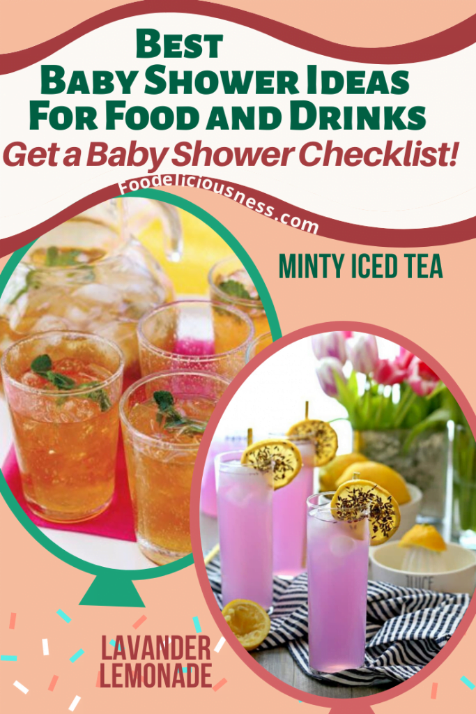 MINTY ICED TEA AND LAVANDER LEMONADE baby shower ideas