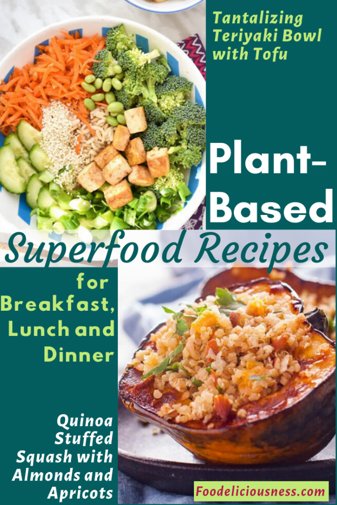 Plant-Based Tantalizing Teriyaki Bowl with Tofu and Quinoa Stuffed Squash with Almonds and Apricots