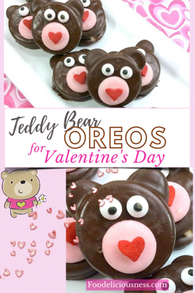 Teddy Bear Oreos are really adorable and cute cookies for Valentine\'s Day. Chocolate-dipped treats like these are certainly perfect to make with kids because the cookies are already pre-made (no baking required!) and all you have to do is decorate (the fun part!!) #oreocookies #Teddybearoreos@Foodeliciousness