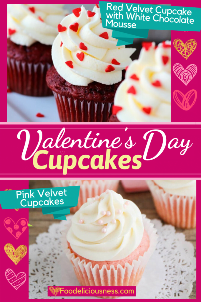 Valentines Day Cupcakes red velvet cupcakes w chocolate mousse Pink velvet cupcakes