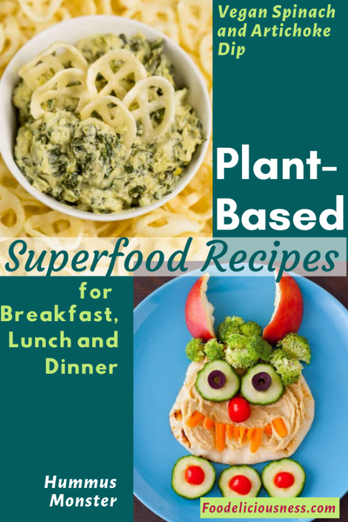 Plant-based Superfood recipes Vegan Spinach and Artichoke Dip Hummus Monster