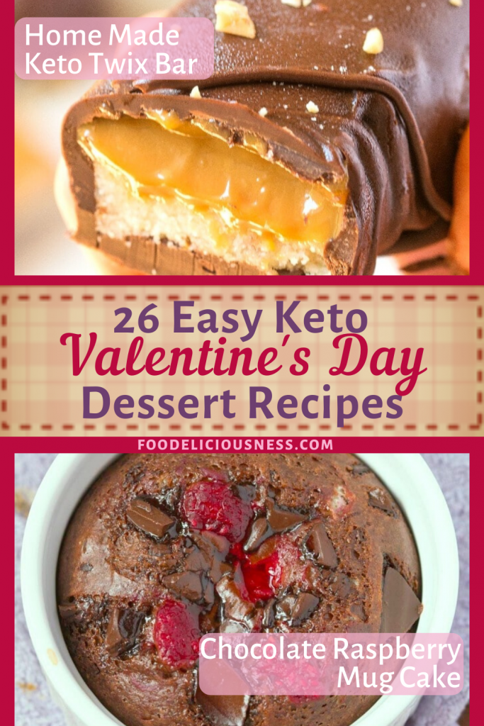 Easy Keto Valentines Day Dessert Homemade Keto twix bars Chocolate Raspberry Mugcake