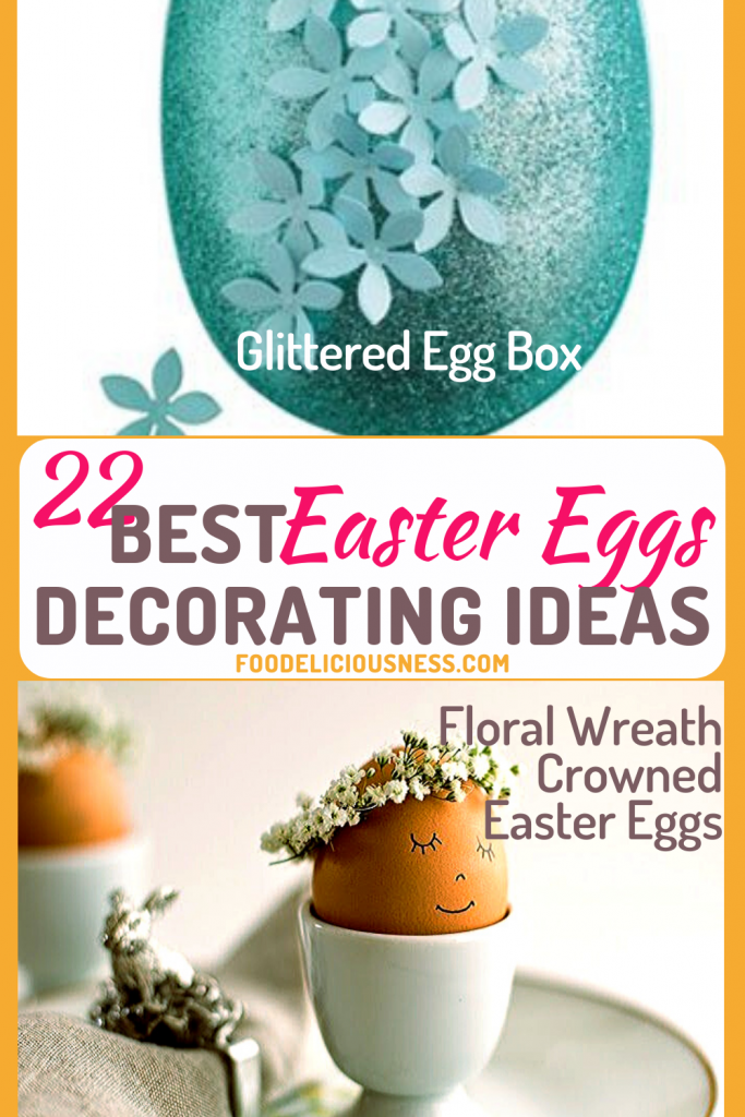 Glittered egg box and Floral Wreath Crowned Easter Eggs