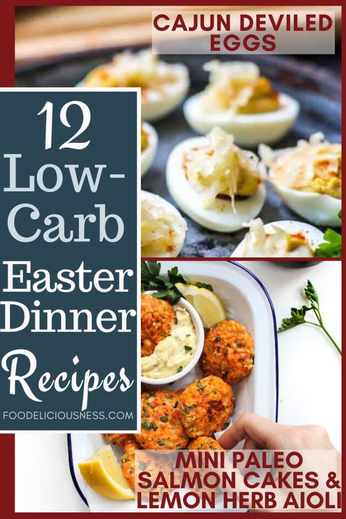 Low Carb Easter Dinner Recipes Cajun Deviled Eggs and Mini Paleo salmon cakes lemon herb aioli
