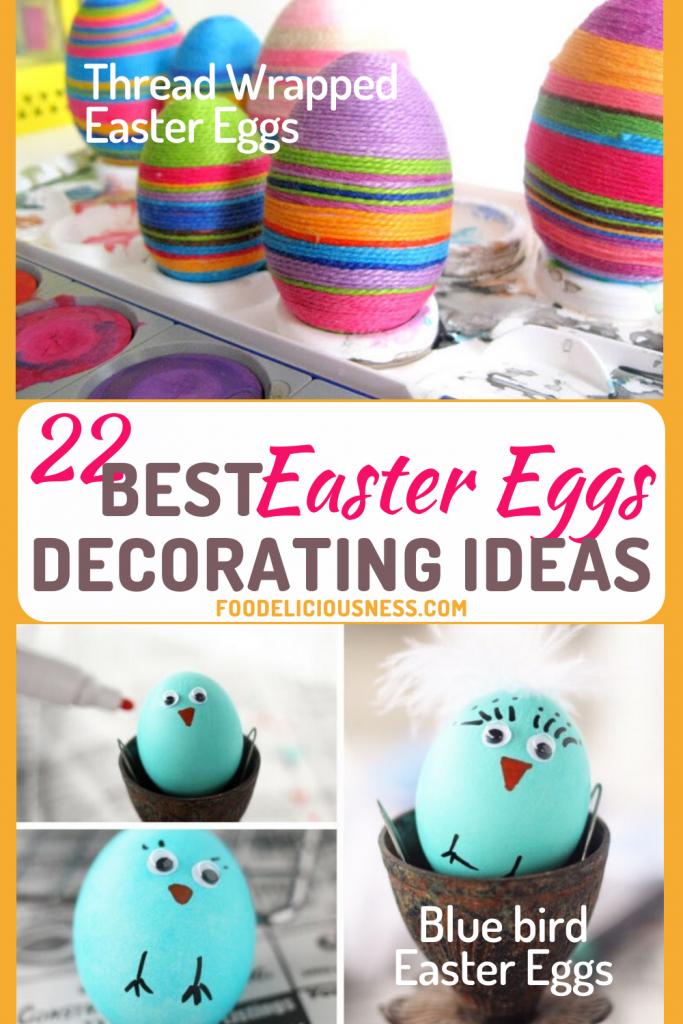 Best Easter Eggs Decorating Ideas Thread Wrapped Easter Eggs and Blue bird Easter Eggs