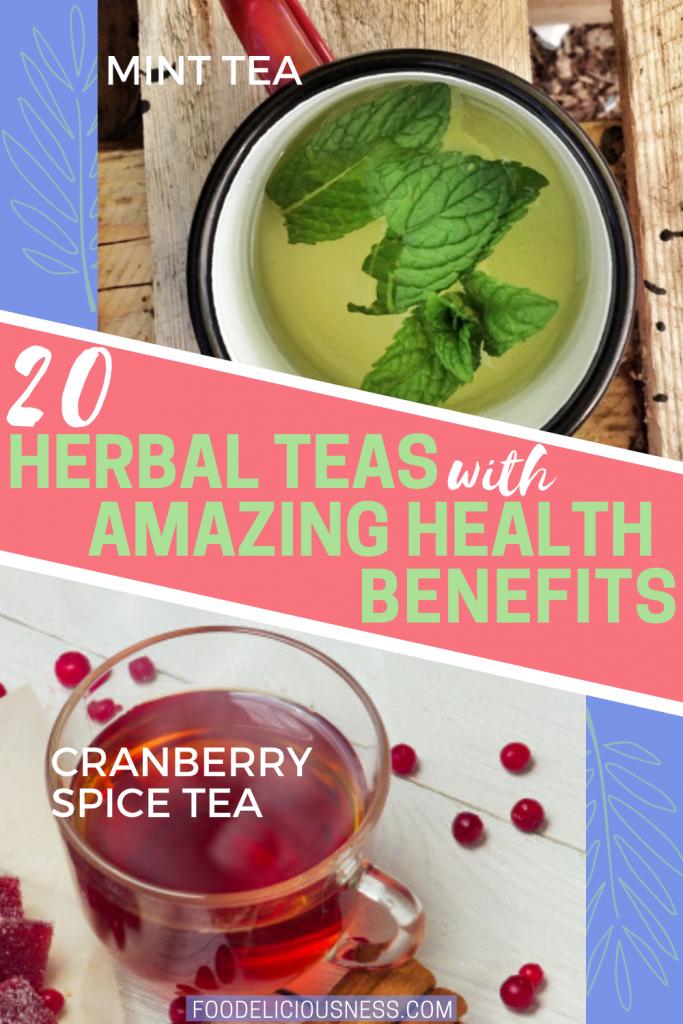 Mint tea and cranberry spice tea