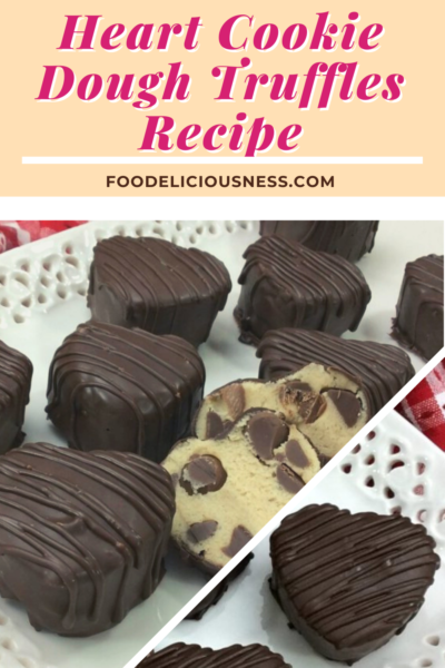 Theseheart cookie dough truffles are indeed an excellent treat to make for that special someone that truly loves cookie dough. Not only are these truffles shaped like a heart, but they are also drenched in dark chocolate. You can also be really creative with this recipe. Instead of chocolate chips on the inside, you could use peanut butter chips or any other flavor. You could also cover these in any type of melted chocolate. #Heartcookiedoughtruffles @Foodeliciousness