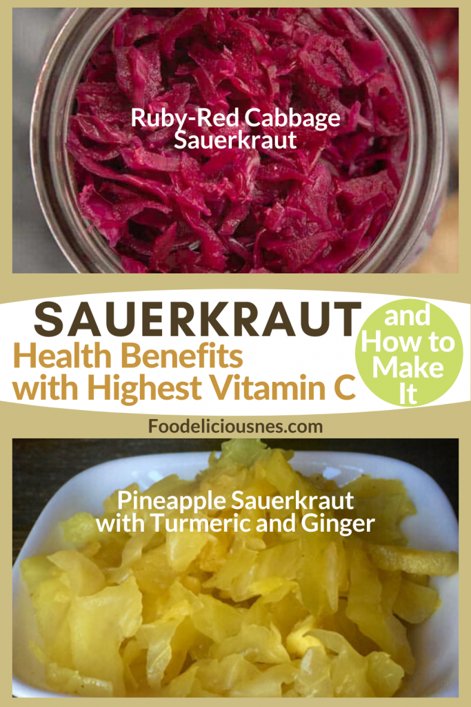 SAUERKRAUT Health benefits with Highest vitamin C Ruby red and Pineapple Sauerkraut