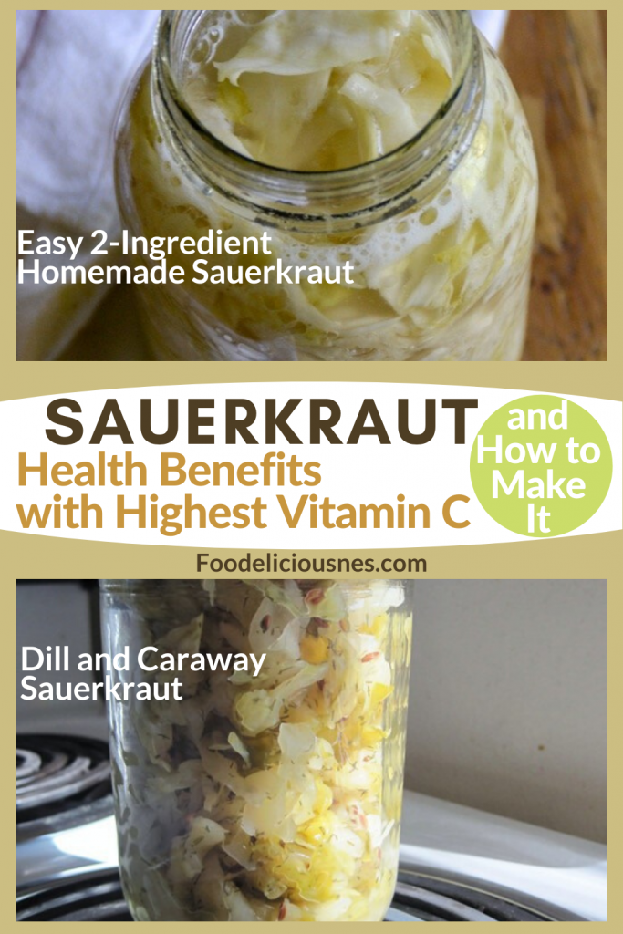 SAUERKRAUT Health benefits with Highest vitamin C Easy 2 Ingredient homemade and Dill and Caraway Sauerkraut