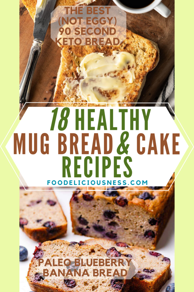 HEALTHY MUG BREAD AND CAKE Recipes The Best not eggy 90 second keto bread and Paleo Blueberry banana Bread