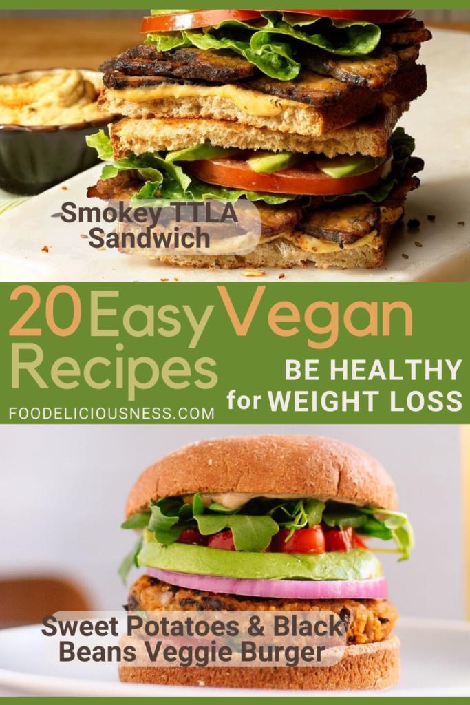 Smokey TTLA Sandwich and Sweet Potatoes Black Beans Veggie Burger