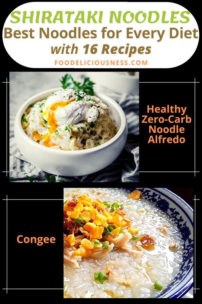 SHIRATAKI NOODLES Healthy Zero Carb Noodle Alfredo and Congee