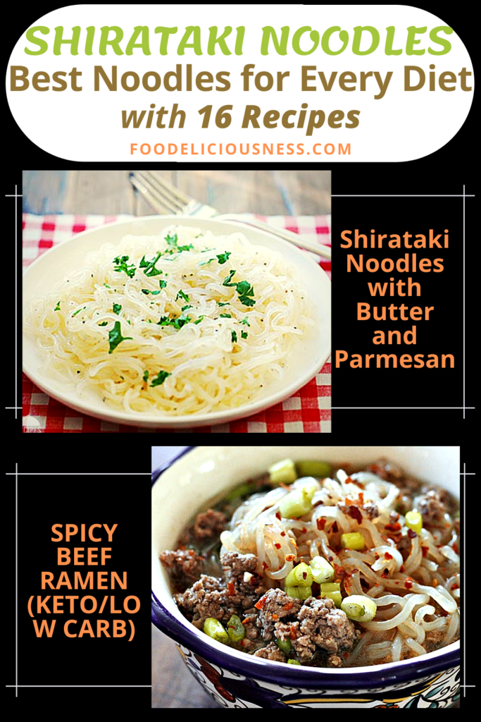 Shirataki Noodles with Butter and Parmesan and Spicy beef Ramen Keto Low Carb