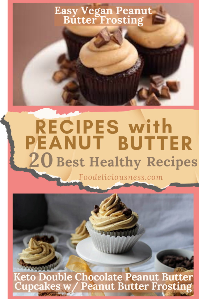 Easy Vegan Peanut Butter Frosting and Keto Double Chocolate Peanut Butter Cupcakes w Peanut Butter Frosting