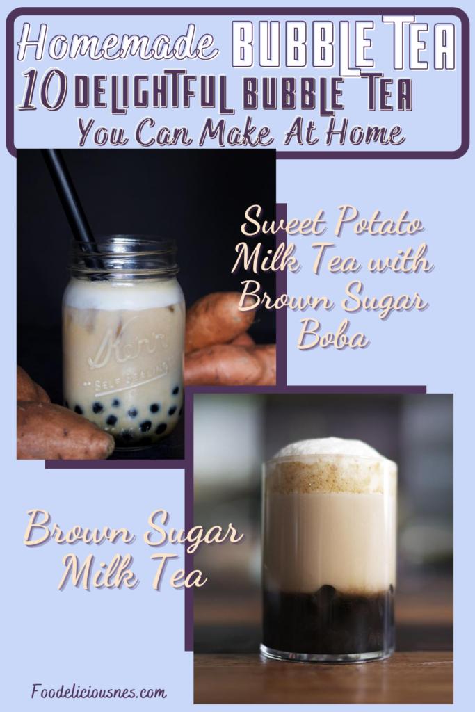 Sweet Potato Milk Tea with Brown Sugar Boba and Brown Sugar Milk Tea